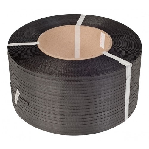 PP-strap 12 mm x 3000 m, 0,55 mm, sort, kerne 200 mm